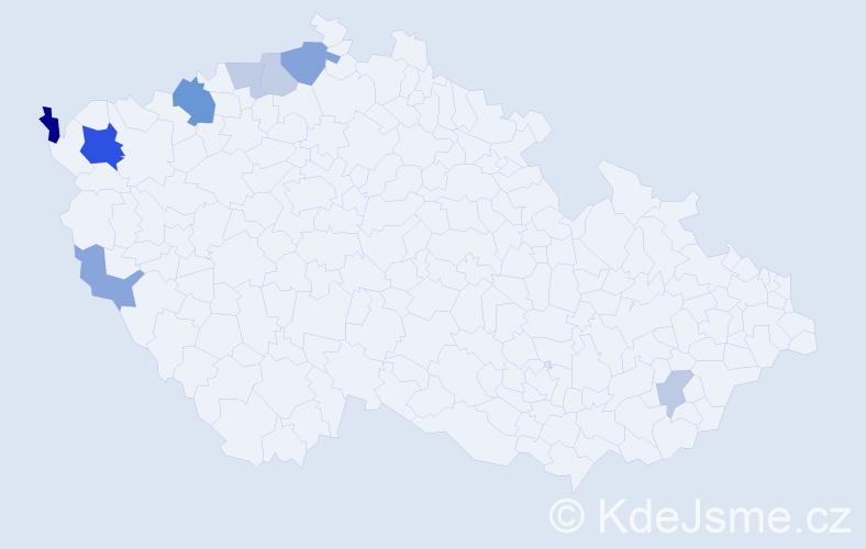 Příjmení: 'Mandzáková', počet výskytů 16 v celé ČR