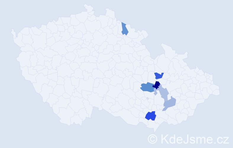 Příjmení: 'Háderová', počet výskytů 9 v celé ČR