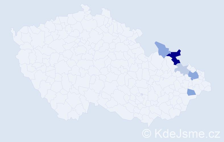 Příjmení: 'Čadecká', počet výskytů 13 v celé ČR