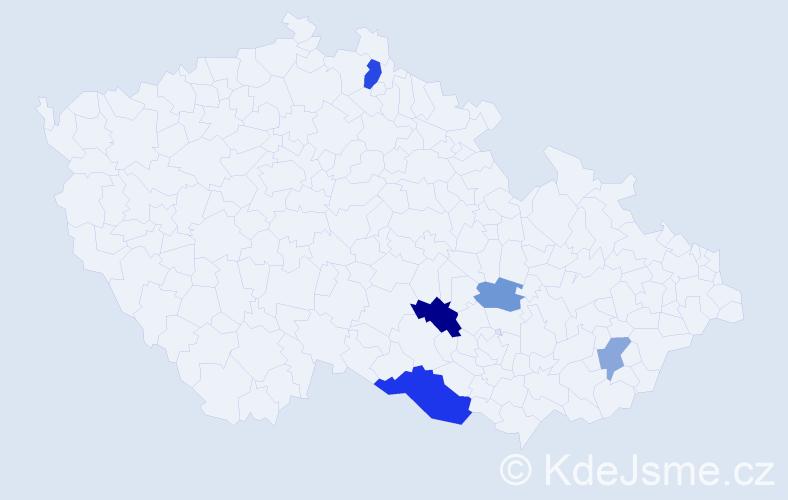 Příjmení: 'Čachová', počet výskytů 9 v celé ČR