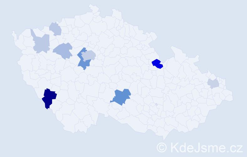 Příjmení: 'Bothe', počet výskytů 27 v celé ČR