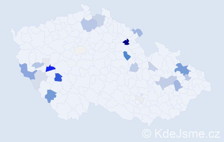 Příjmení: 'Hopová', počet výskytů 51 v celé ČR