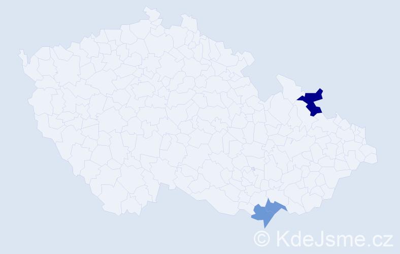 Příjmení: 'Košútková', počet výskytů 4 v celé ČR