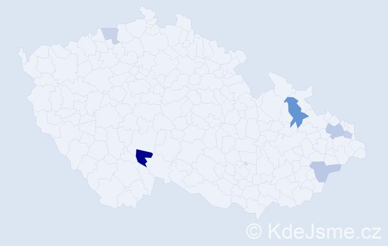 Příjmení: 'Bereznanin', počet výskytů 11 v celé ČR