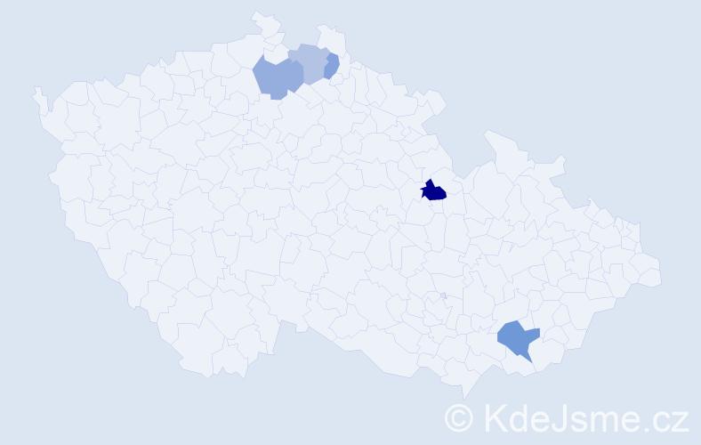 Příjmení: 'Kauc', počet výskytů 7 v celé ČR