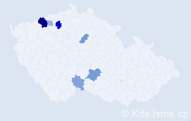 Příjmení: 'Lancošová', počet výskytů 13 v celé ČR