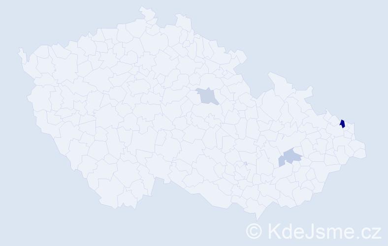Příjmení: 'Čempělová', počet výskytů 6 v celé ČR