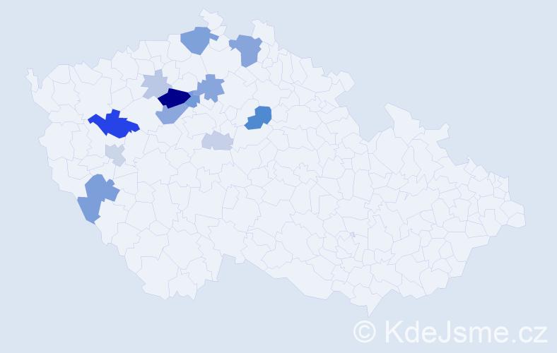 Příjmení: 'Ekertová', počet výskytů 38 v celé ČR