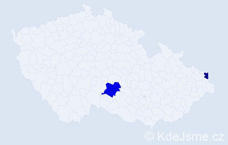 Příjmení: 'Čupeąová', počet výskytů 2 v celé ČR