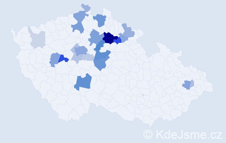 Příjmení: 'Dousek', počet výskytů 82 v celé ČR