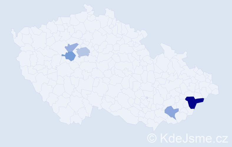 Příjmení: 'Jakerlová', počet výskytů 12 v celé ČR