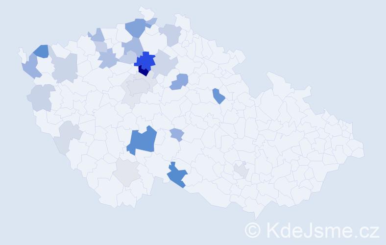Příjmení: 'Jirmusová', počet výskytů 83 v celé ČR