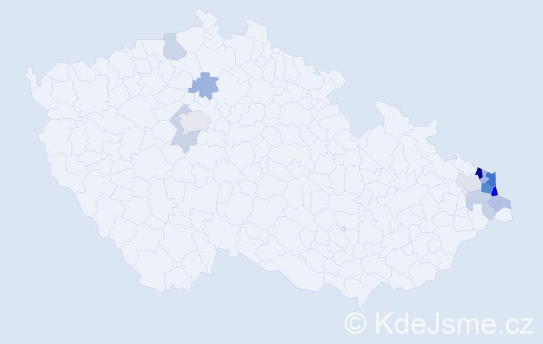 Příjmení: 'Machejová', počet výskytů 26 v celé ČR