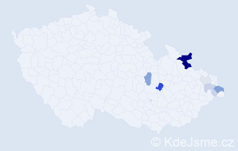 Příjmení: 'Hanuščáková', počet výskytů 12 v celé ČR