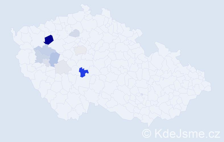 Příjmení: 'Dalimanová', počet výskytů 29 v celé ČR