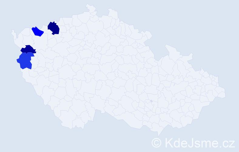 Příjmení: 'Lantajová', počet výskytů 6 v celé ČR