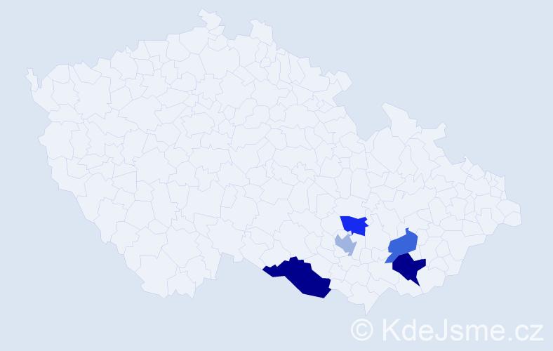 Příjmení: 'Hejmalíková', počet výskytů 7 v celé ČR