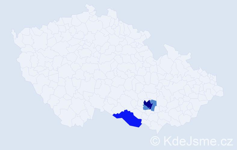 Příjmení: 'Hulánková', počet výskytů 11 v celé ČR
