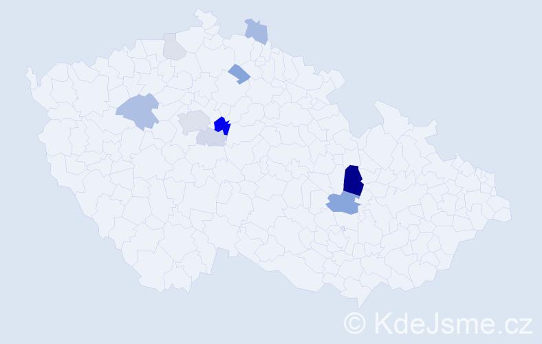Příjmení: 'Kleger', počet výskytů 27 v celé ČR