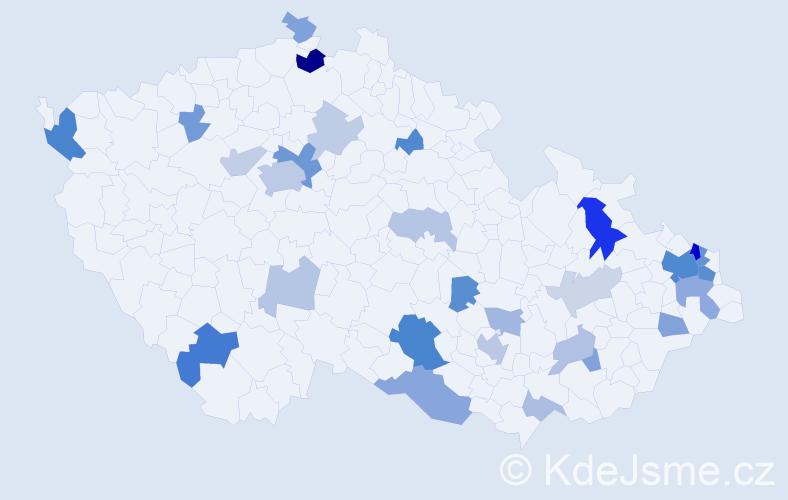 Příjmení: 'Koščová', počet výskytů 67 v celé ČR