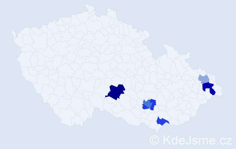 Příjmení: 'Dojčák', počet výskytů 10 v celé ČR