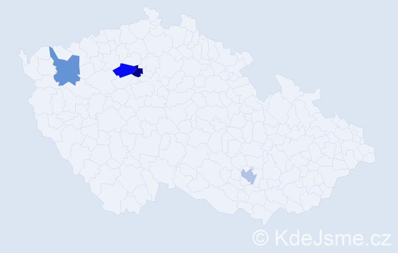 Příjmení: 'Blauová', počet výskytů 4 v celé ČR