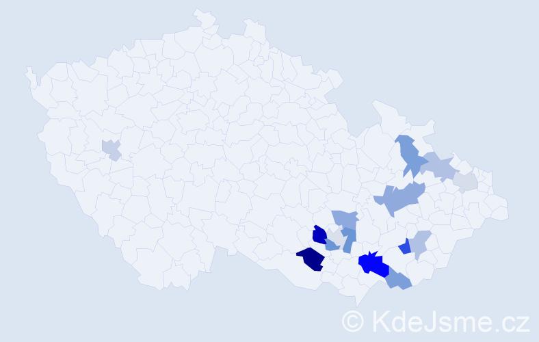 Příjmení: 'Hemžal', počet výskytů 22 v celé ČR