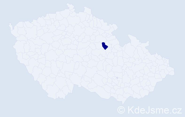 """Příjmení: '""""Caracuel Habětínek""""', počet výskytů 1 v celé ČR"""