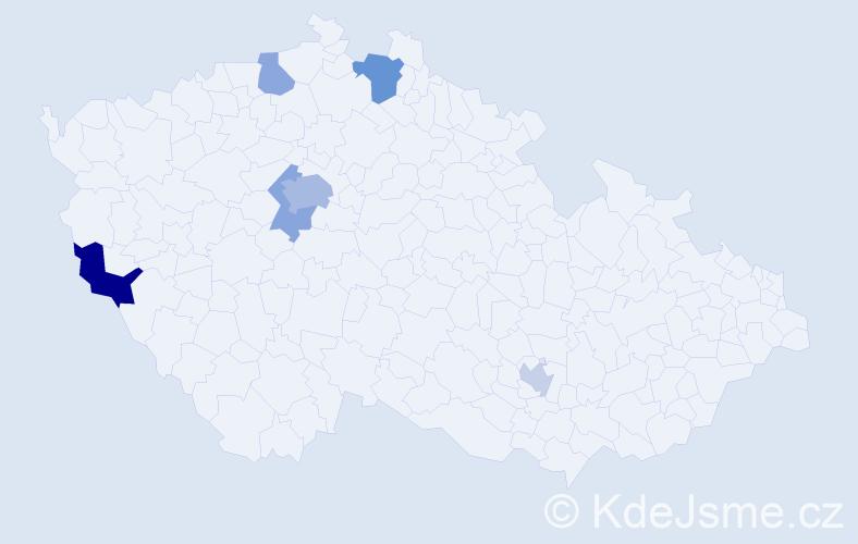 Příjmení: 'Franic', počet výskytů 12 v celé ČR
