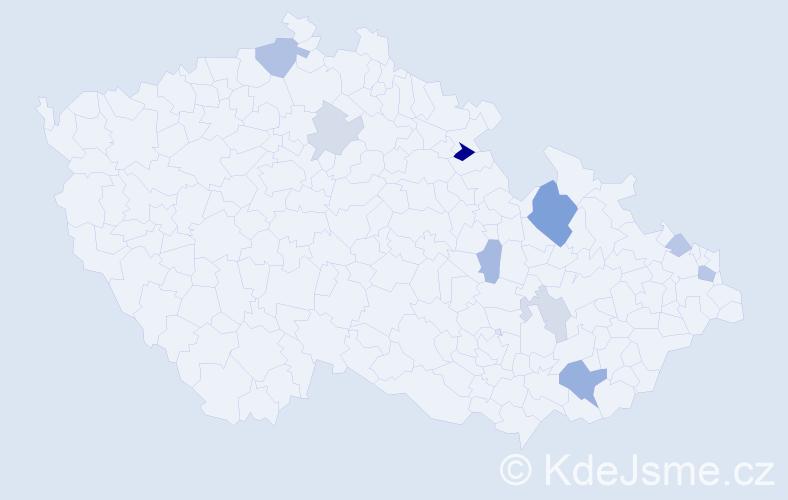 Příjmení: 'Hlošková', počet výskytů 18 v celé ČR
