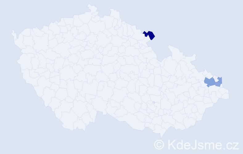 Příjmení: 'Bardel', počet výskytů 6 v celé ČR