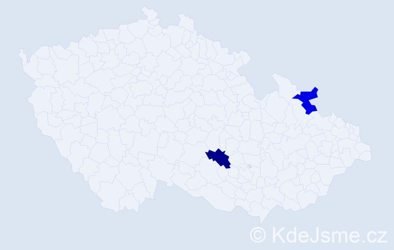 Příjmení: 'Kundysek', počet výskytů 2 v celé ČR