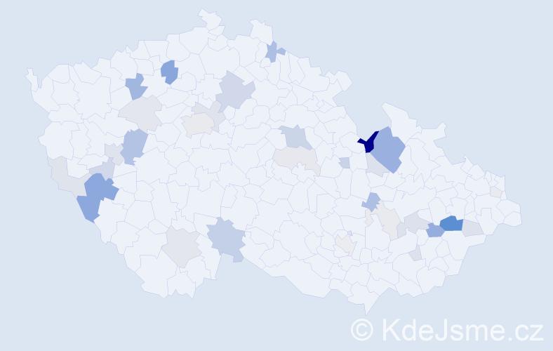 Příjmení: 'Hás', počet výskytů 89 v celé ČR