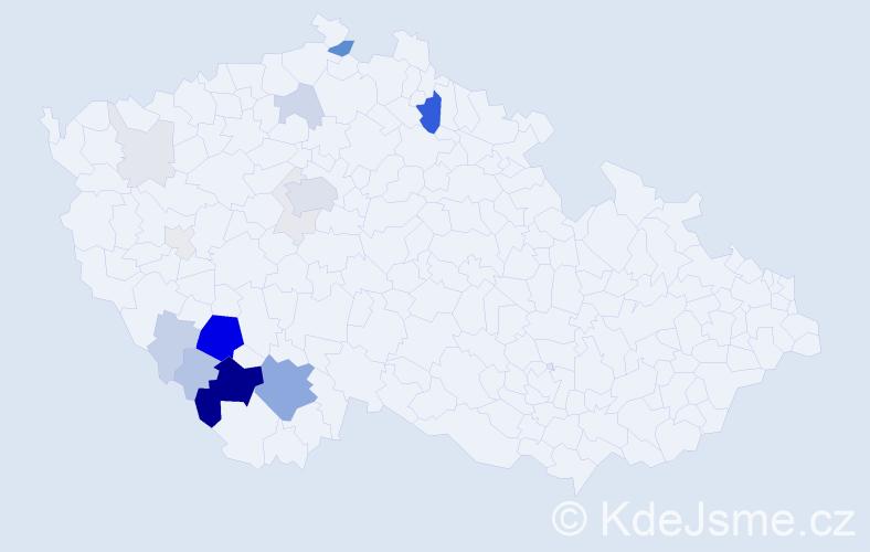 Příjmení: 'Kahuda', počet výskytů 72 v celé ČR