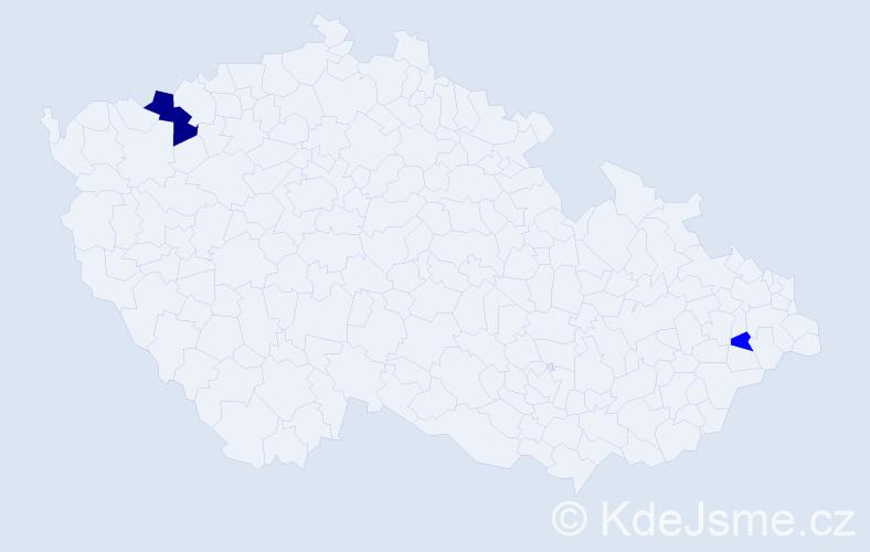 Příjmení: 'Badaňová', počet výskytů 4 v celé ČR