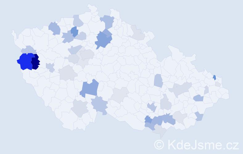 Příjmení: 'Majerčíková', počet výskytů 104 v celé ČR