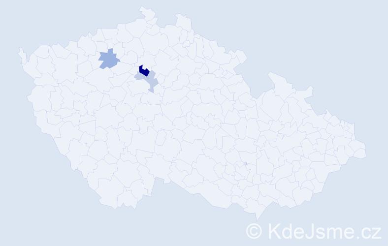 Příjmení: 'Čemer', počet výskytů 6 v celé ČR