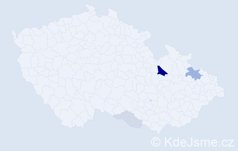 Příjmení: 'Cábelová', počet výskytů 11 v celé ČR