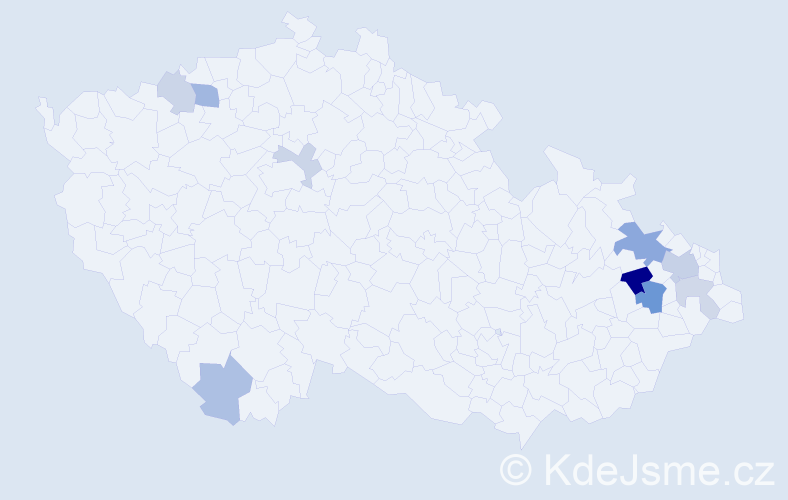 Příjmení: 'Benčič', počet výskytů 18 v celé ČR