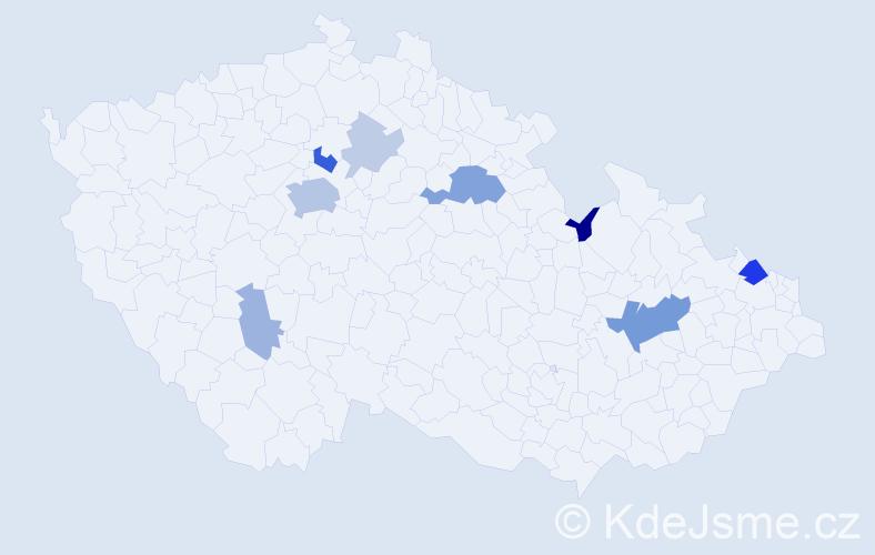 Příjmení: 'Ettel', počet výskytů 24 v celé ČR