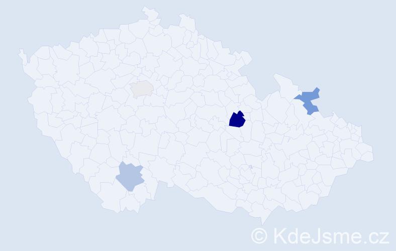 Příjmení: 'Aigner', počet výskytů 5 v celé ČR
