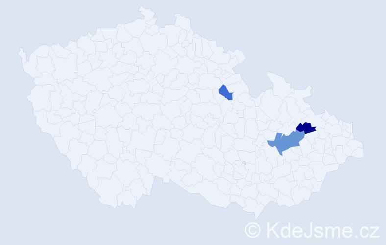 Příjmení: 'Barrow', počet výskytů 5 v celé ČR