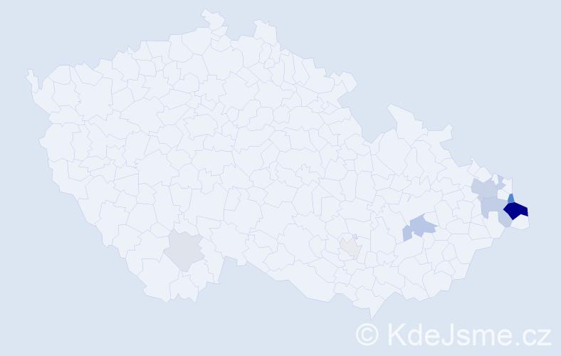Příjmení: 'Kapustková', počet výskytů 27 v celé ČR