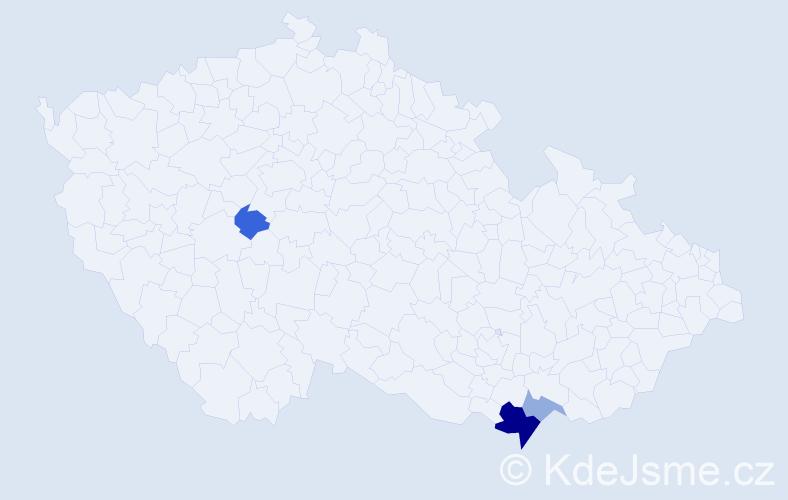 Příjmení: 'Kapsíková', počet výskytů 7 v celé ČR