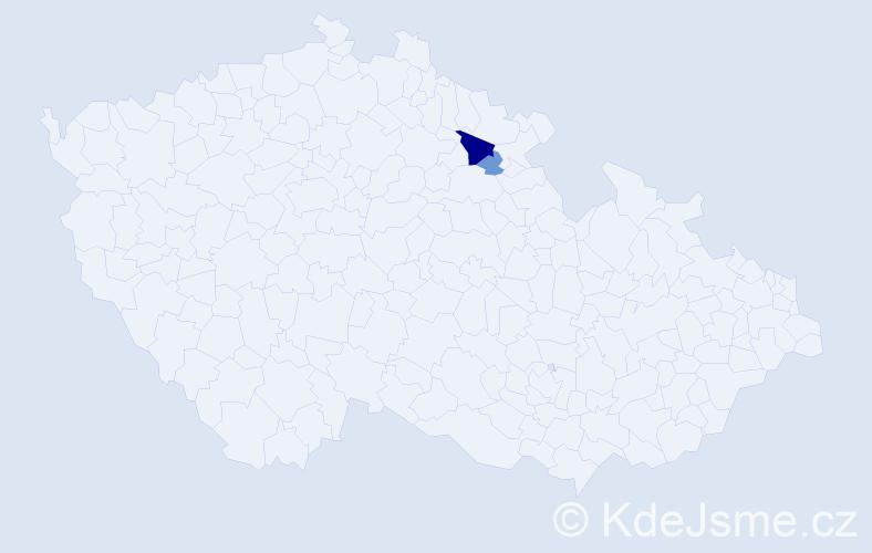 Příjmení: 'Lebedínská', počet výskytů 5 v celé ČR