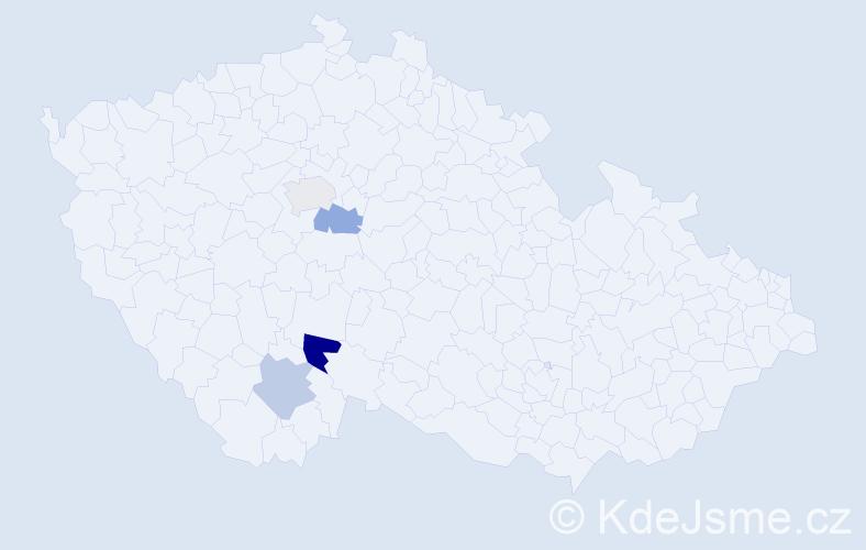 Příjmení: 'Effmertová', počet výskytů 5 v celé ČR