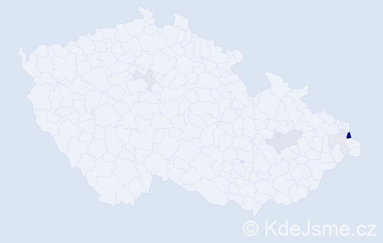 Příjmení: 'Jedzoková', počet výskytů 18 v celé ČR