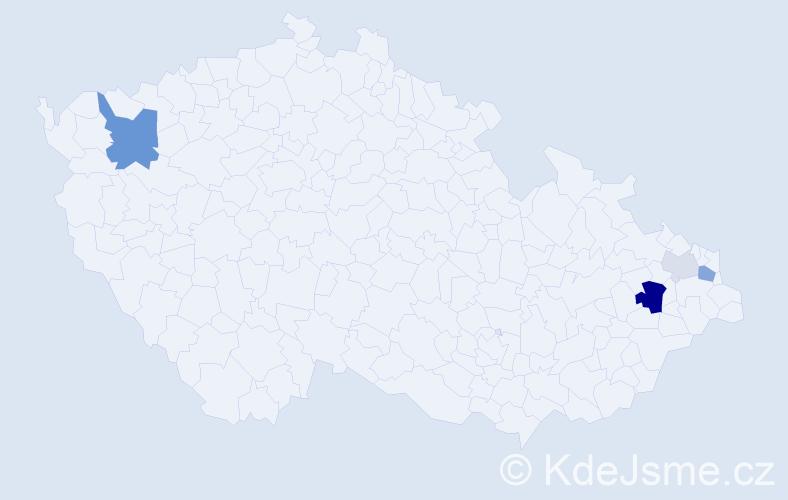 Příjmení: 'Celuchová', počet výskytů 11 v celé ČR