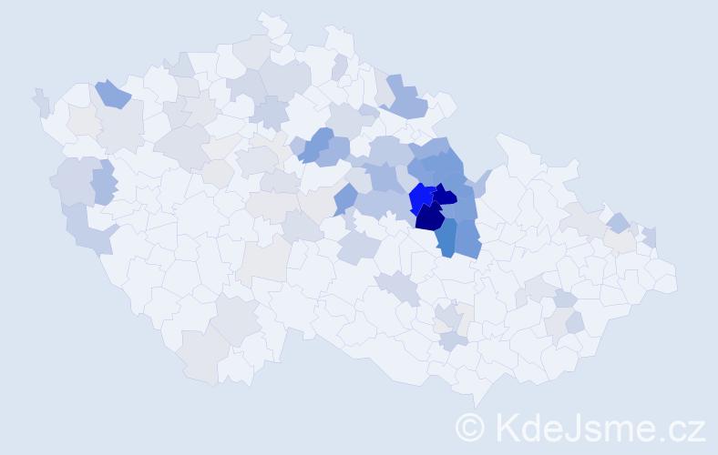 Příjmení: 'Kroulíková', počet výskytů 288 v celé ČR