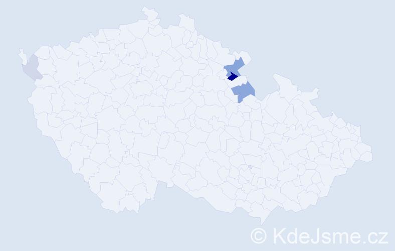 Příjmení: 'Krbal', počet výskytů 11 v celé ČR